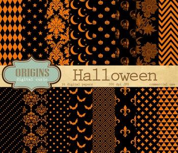 Orange and Black Halloween Digital Paper Pack Scrapbook Backgrounds