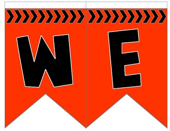 Welcome Flag Bunting-Orange and Black