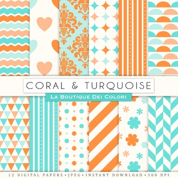 Coral and Turquoise Digital Paper, scrapbook backgrounds