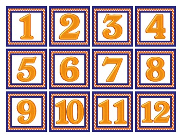 Orange and Blue Calendar Numbers