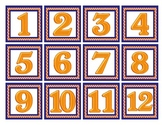 Orange and Blue Calendar Numbers
