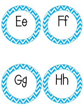 Orange and Blue Chevron Word Wall Letter Headers Only