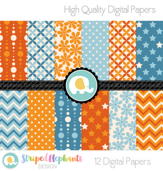Orange and Blue Digital Papers