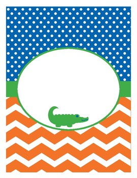 Orange and Blue Gator Binder Covers and Spines