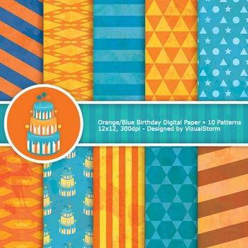 Orange and Blue Geometric Digital Paper, stars, octagons, triangles, stripes