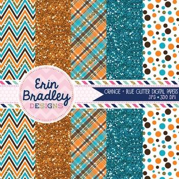 Orange and Blue Glitter Digital Paper Pack