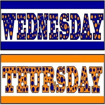 Days of the Week Labels Orange and Blue Color Theme