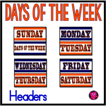 Days of the Week Headers in Orange Blue and White