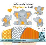 Orange and Gray Elephant Clipart