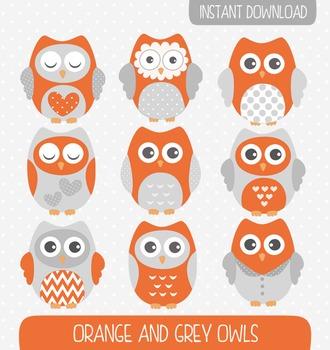 Orange and Grey Owls Clip Art