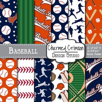 Orange and Navy Blue Baseball Digital Paper 1453