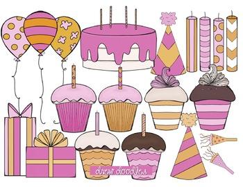 Orange and Pink Birthday Digital Clip Art Set