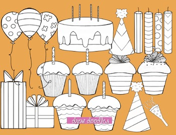 Orange and Pink Birthday Digital Clip Art-Black Line Version