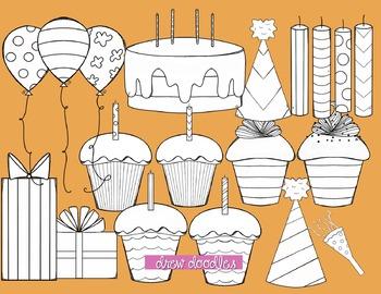 Orange and Pink Birthday Digital Clip Art-Black Line Version