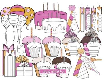 Orange and Pink Birthday Digital Clip Art Set-Color and Black Line COMBO