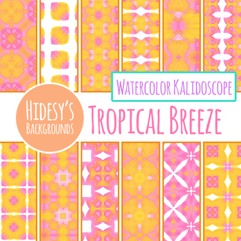 Orange and Pink Watercolor Handpainted Digital Papers / Backgrounds / Patterns