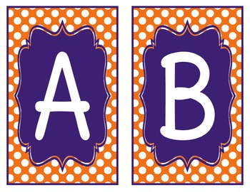 Orange and Purple Polka Dot Word Wall Alphabet