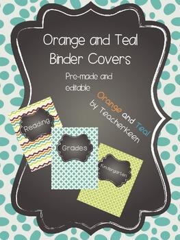Orange and Teal Binder Covers