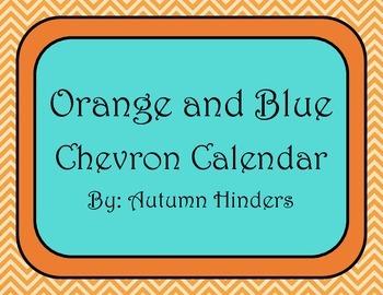 Orange and Teal Chevron Calendar