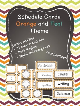 Orange and Teal Schedule Cards *New*