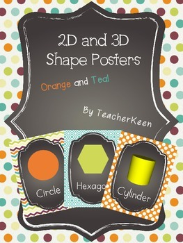 Orange and Teal Shape Posters - 2D and 3D!!