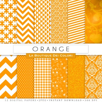 Orange and White Digital Paper, scrapbook backgrounds