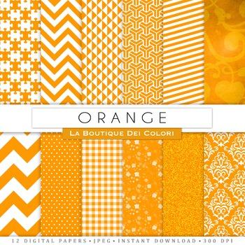Orange and White Digital Paper, scrapbook backgrounds