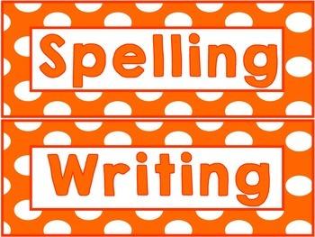 Orange and White Polka Dot Subject Labels