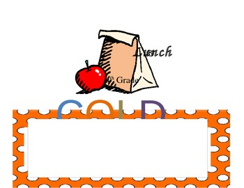 Orange and White Polka dot labels and signs for the classroom