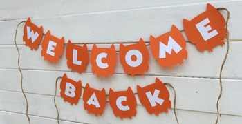 Orange and White Welcome Back Owl Banner
