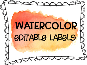 Red and Orange Watercolor Editable Labels