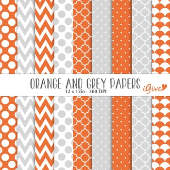 Orange and grey Digital Papers