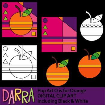 Orange clip art - O is for orange - interactive pop art clipart