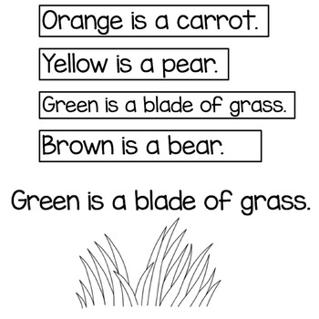 Orange is a Carrot Color Rhyme and Tasks