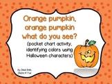 Orange pumpkin, what do you see? (identify Halloween characters)