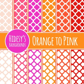 Orange to Pink Moroccan Tiles Backgrounds / Patterns / Digital Paper Clipart