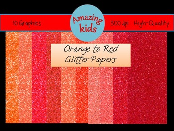 Orange to Red Glitter Papers
