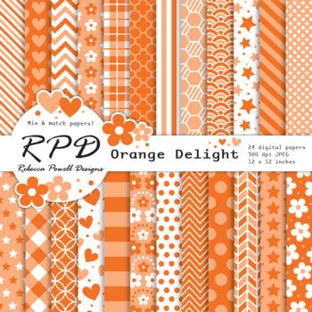 Orange & white, mix & match patterns digital paper set/ backgrounds