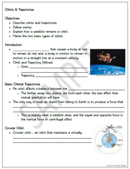 Orbits & Trajectories: PowerPoint, illustrated Student Guided Notes, Worksheet