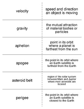 Orbits and Gravity Vocabulary Flash Cards for Astronomy Students
