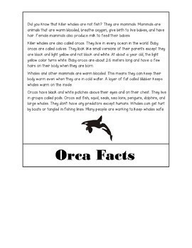 Killer Whale/ Orca Flip Book {Aligns with NGSS 1-LS3-1}