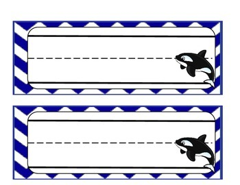 Orca Name Tags for Ocean Theme