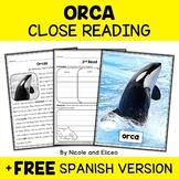 Orca Close Reading Passage Activities