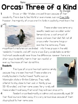 Orcas: Three of a Kind Text and Question Set - FSA/PARCC-S
