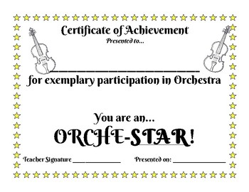 Orchestra Award... You Are An Orche-Star!