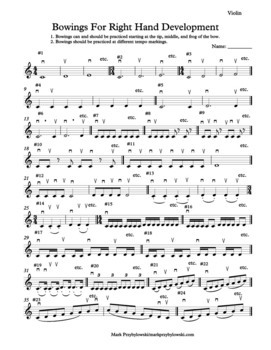 Orchestra Bowing Exercises: Bowings for Right Hand Development (Treble Clef)