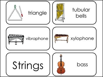 Orchestra Instruments Picture Word Flash Cards.
