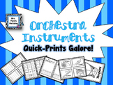 Orchestra Instruments Quick-Prints Galore (All four families on each sheet!)