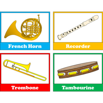 Orchestra Musical Instrument Families Matching Card Game with Bonus Free Clipart