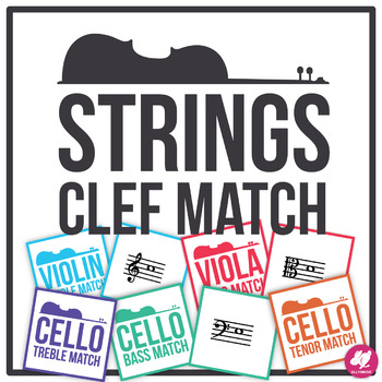 Orchestra Note Identification - Memory & Matching Card Game - Clefs for Strings